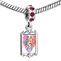 Charms Beads - red crystal dangle the princess loves prince frog Image.