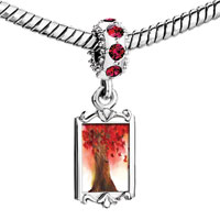 Charms Beads - red crystal dangle beautiful maple tree Image.