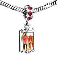 Charms Beads - red crystal dangle lovely big small monkey heart Image.