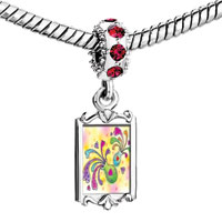 Charms Beads - red crystal dangle beautiful vase colorful flowers Image.