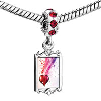 Charms Beads - red crystal dangle heart pink purple splash ink flowing light Image.