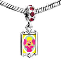 Charms Beads - red crystal dangle cheering squad girl in pink dress Image.