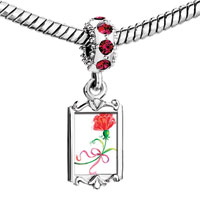 Charms Beads - red crystal dangle beautiful flower pink ribbon Image.