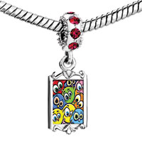 Charms Beads - red crystal dangle easter day colorful baby birds Image.