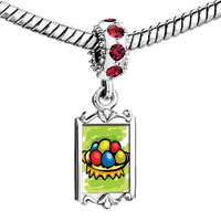 Charms Beads - red crystal dangle easter day colorful eggs on plate Image.