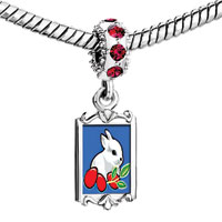 Charms Beads - red crystal dangle white bunny rabbit eating carrots Image.