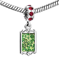 Charms Beads - red crystal dangle st.  patrick' s day green clover Image.