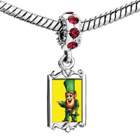 Charms Beads - red crystal dangle st.  patrick' s day green saint Image.