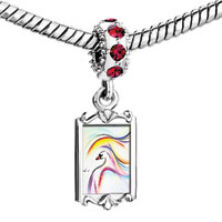 Charms Beads - red crystal dangle charming colorful swan painting Image.