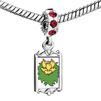 Charms Beads - red crystal dangle easter day little yellow baby ducks on green grass Image.