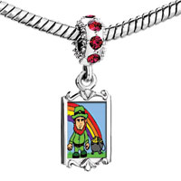 Charms Beads - red crystal dangle st.  patrick' s day rainbow saint Image.