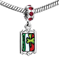 Charms Beads - red crystal dangle st.  patrick' s day irel clover Image.