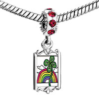 Charms Beads - red crystal dangle st.  patrick' s day rainbow green four leaf clover Image.