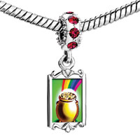 Charms Beads - red crystal dangle st.  patrick' s day rainbow golden jar Image.