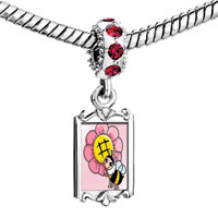 Charms Beads - red crystal dangle beautiful pink flower lovely bee Image.