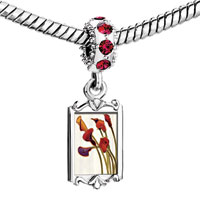 Charms Beads - red crystal dangle beautiful purple orange calla Image.