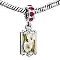 Charms Beads - red crystal dangle green leaf big white calla Image.
