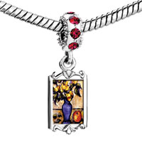 Charms Beads - red crystal dangle still life painting fruit Image.