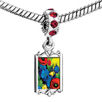 Charms Beads - red crystal dangle beautiful colorful flowers Image.