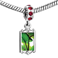 Charms Beads - red crystal dangle green lotus leaves Image.