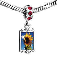 Charms Beads - red crystal dangle beautiful sunflower under sky Image.