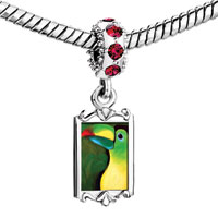 Charms Beads - red crystal dangle colored parrot Image.