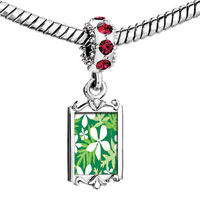 Charms Beads - red crystal dangle beautiful white flowers leaves Image.