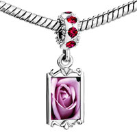 Charms Beads - red crystal dangle blooming rose Image.