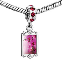 Charms Beads - red crystal dangle exceedingly beautiful phalaenopsis amabilis Image.