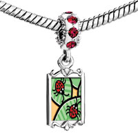 Charms Beads - red crystal dangle ladybugs on leaves Image.