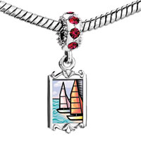 Charms Beads - red crystal dangle sailing boats on the sea Image.