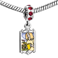 Charms Beads - red crystal dangle beautiful woman watering flowers Image.