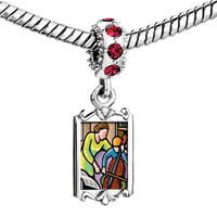 Charms Beads - red crystal dangle mother accompany child playing cello Image.