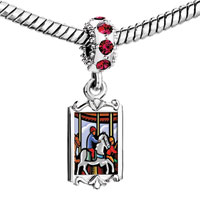 Charms Beads - red crystal dangle lovely children riding carousel Image.