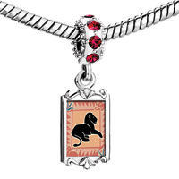 Charms Beads - red crystal dangle black lion Image.