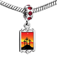 Charms Beads - red crystal dangle black cross Image.