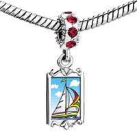 Charms Beads - red crystal dangle sailing boat at sea Image.