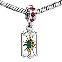 Charms Beads - red crystal dangle moon sun Image.