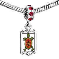 Charms Beads - red crystal dangle cute tortoise Image.