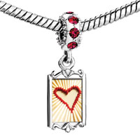 Charms Beads - red crystal dangle matches formed heart Image.