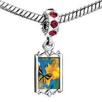 Charms Beads - red crystal dangle beautiful flower black butterfly Image.