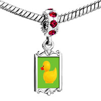 Charms Beads - red crystal dangle rubber duckie Image.