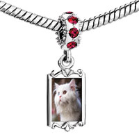 Charms Beads - red crystal dangle lovely white cat Image.