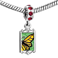 Charms Beads - red crystal dangle lovely yellow butterfly Image.
