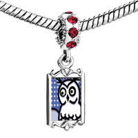 Charms Beads - red crystal dangle lovely harry potter fan owl fit &  bracelet Image.