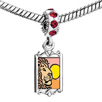 Charms Beads - red crystal dangle lovely lion under the sun Image.