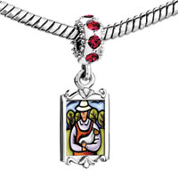 Charms Beads - red crystal dangle shepherd holding one lamb Image.