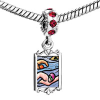 Charms Beads - red crystal dangle people swimming in ocean Image.
