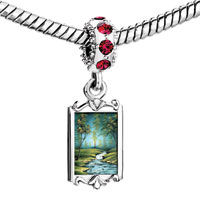 Charms Beads - red crystal dangle forest riverlet green trees Image.