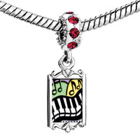 Charms Beads - red crystal dangle black white piano keys playing music Image.